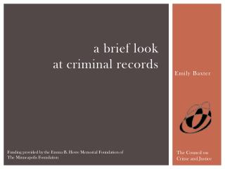 a brief look  at criminal records