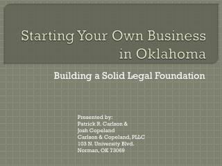 Starting Your Own Business in Oklahoma