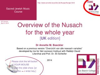 Overview of the Nusach  for the whole year [ UK  edition]
