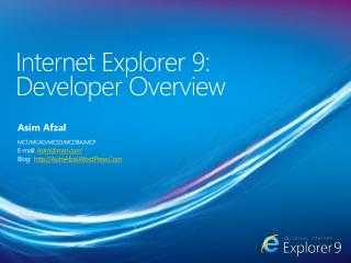 Internet Explorer 9:  Developer Overview