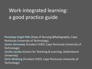 Work-integrated learning: a good practice guide