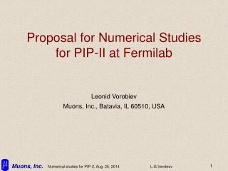 Proposal for Numerical Studies for PIP-II at Fermilab