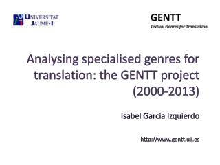 GENTT Textual  Genres for Translation