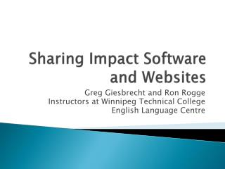 Sharing Impact Software and Websites