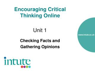 Encouraging Critical Thinking Online