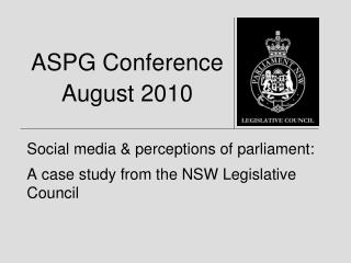 ASPG Conference August 2010