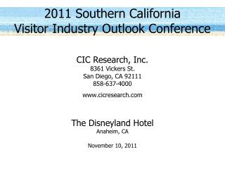 2011 Southern California Visitor Industry Outlook Conference