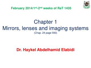 Chapter 1  Mirrors, lenses and imaging systems (Chap. 24 page 593)
