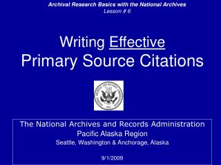 Writing  Effective Primary Source Citations
