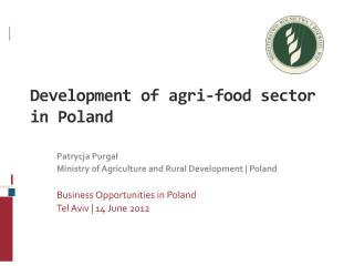 Development of agri-food sector in Poland