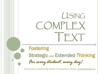 Using  complex Text