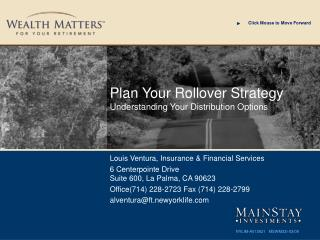 Plan Your Rollover Strategy Understanding Your Distribution Options