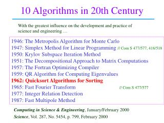 10 Algorithms in 20th Century