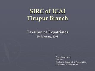 SIRC of ICAI Tirupur Branch