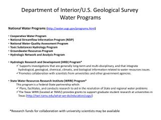 Department of Interior/U.S. Geological Survey Water Programs