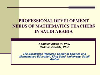 PROFESSIONAL DEVELOPMENT NEEDS OF MATHEMATICS TEACHERS IN SAUDI ARABIA