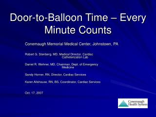 Door-to-Balloon Time – Every Minute Counts