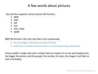 A few words about pictures