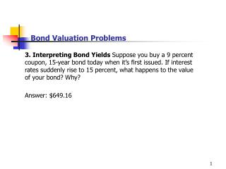 Bond Valuation Problems