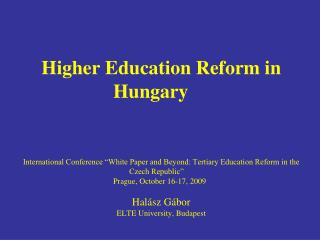 Higher Education reform in Hungary