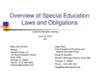 Overview of Special Education Laws and Obligations