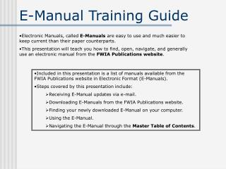 E-Manual Training Guide