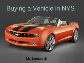 Buying a Vehicle in NYS