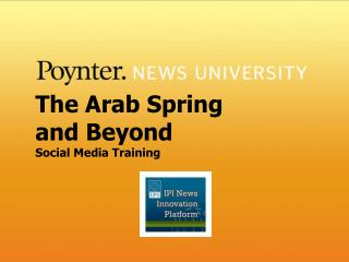 The Arab Spring and Beyond Social Media Training