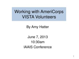Working with AmeriCorps VISTA Volunteers