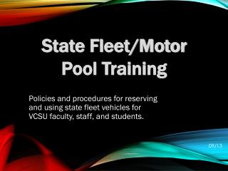 State  Fleet/Motor Pool Training