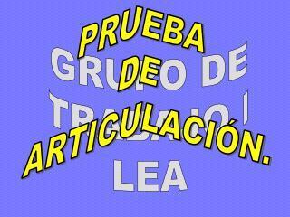 GRUPO DE TRABAJO I LEA