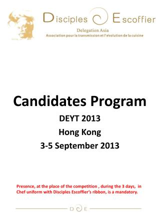 Candidates Program DEYT 2013 Hong Kong 3-5 September 2013