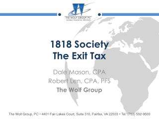 1818 Society  The Exit Tax