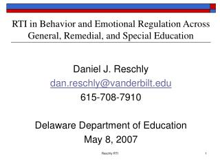 RTI in Behavior and Emotional Regulation Across General, Remedial, and Special Education