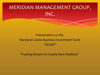 MERIDIAN MANAGEMENT GROUP, INC.