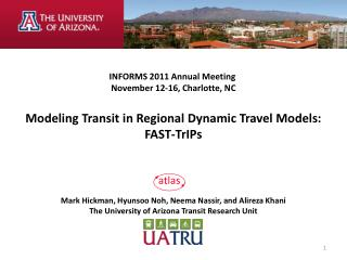 INFORMS 2011 Annual Meeting  November 12-16, Charlotte, NC