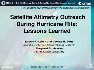 Satellite Altimetry Outreach During Hurricane Rita: Lessons Learned