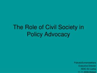 The Role of Civil Society in Policy Advocacy