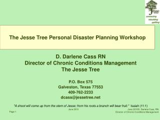 The Jesse Tree Personal Disaster Planning Workshop