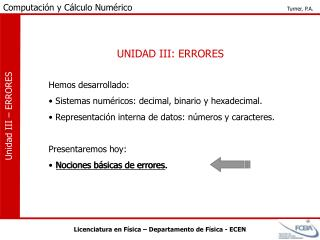 UNIDAD III: ERRORES