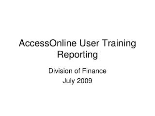 AccessOnline User Training Reporting