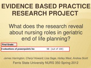 Evidence Based Practice Research Project