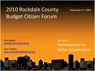 2010 Rockdale County Budget Citizen Forum