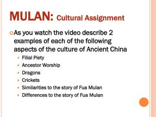 MULAN:  Cultural Assignment