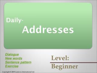 Daily- Addresses