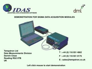 DEMONSTRATION FOR SIGMA DATA ACQUISITION MODULES