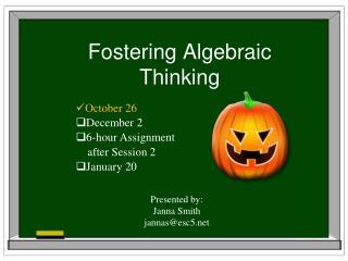 Fostering Algebraic Thinking