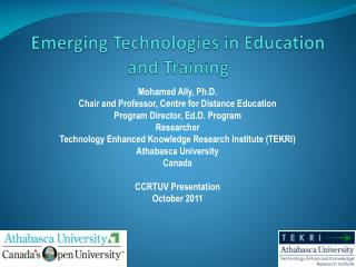 Emerging Technologies in Education and Training