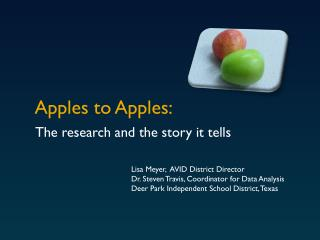 Apples to Apples: