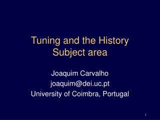 Tuning and the History Subject area